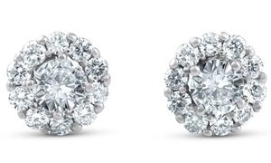 1 CTTW Diamond Halo Stud Earrings in 14K White Gold by Pompeii3