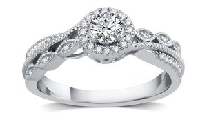 3/8 CTTW Diamond Engagement Ring in 14K White Gold by DeCarat