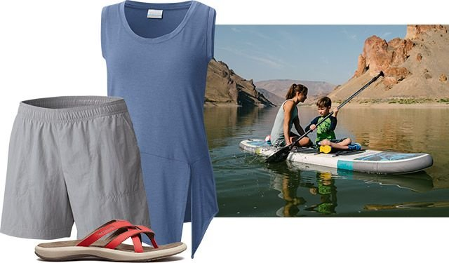 A kayak scene, an outfit for women.