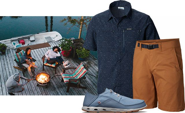 A deck by the water, a summer outfit for men.