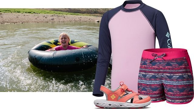 A kid in an inner tube on a river, and outfit for kids.