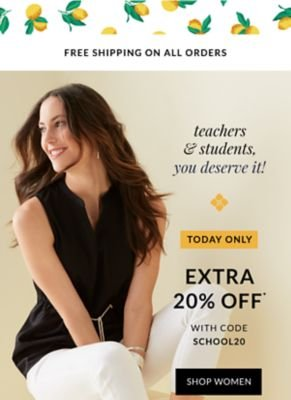Teachers, Students You Deserve it! Today Only! Extra 20% off with code SCHOOL20 - Shop Women