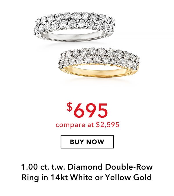 1.00 ct. t.w. Diamond Double-Row Ring in 14kt White or Yellow Gold. $695. Buy Now