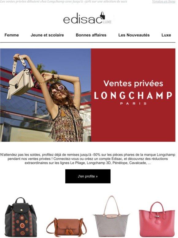 edisac: Ventes privées LONGCHAMP : jusqu'à -50% sur la collection ...