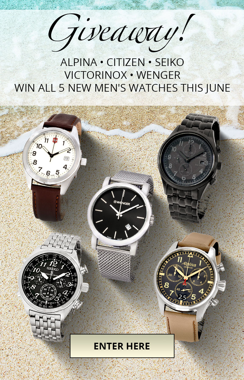 Win $2425 in Men's Watches with Our June Giveaway