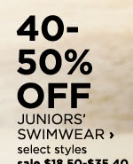 40 to 50% off Juniors' swimwear, select styles, sale $18.50 to $35.40, regular price $37 to $59