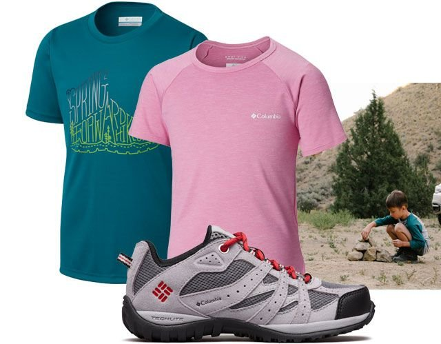 Assortment of kids hiking clothing and a child on a trail.