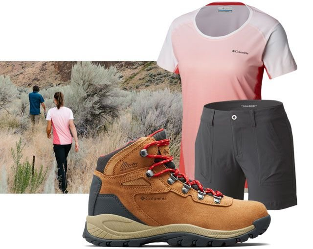 Assortment of womens hiking clothing and a picture of a woman and man hiking.