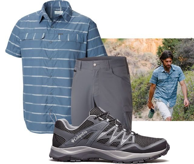 Assortment of mens hiking clothing and a picture of a man hiking.