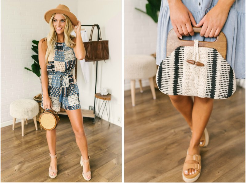 multi color romper and knit purse