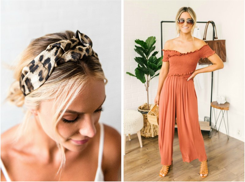 leopard headband and orange jumpsuit