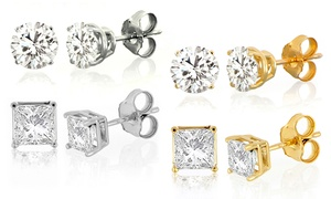 1/10-2 CTTW Diamond Solitaire Stud Earrings in 10K Gold by DeCouer