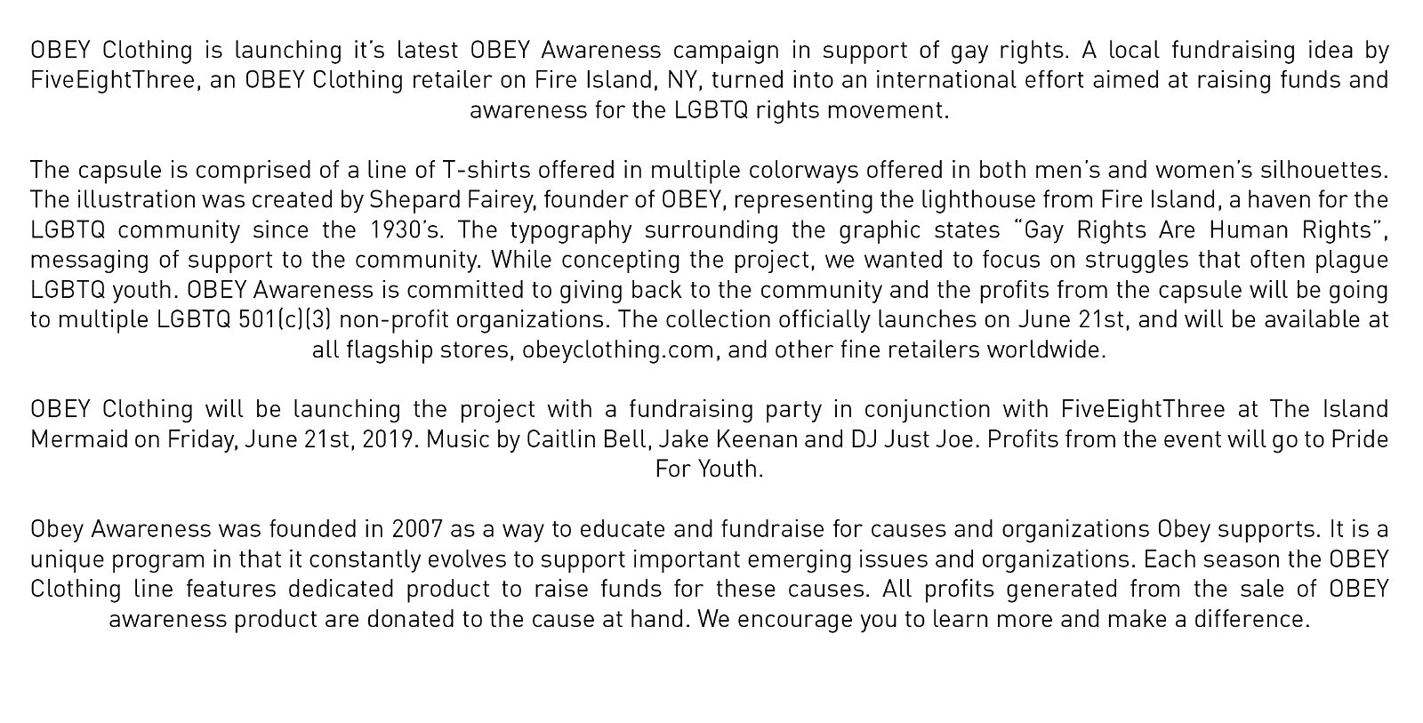 Obey: Obey Awareness Fire Island | Milled