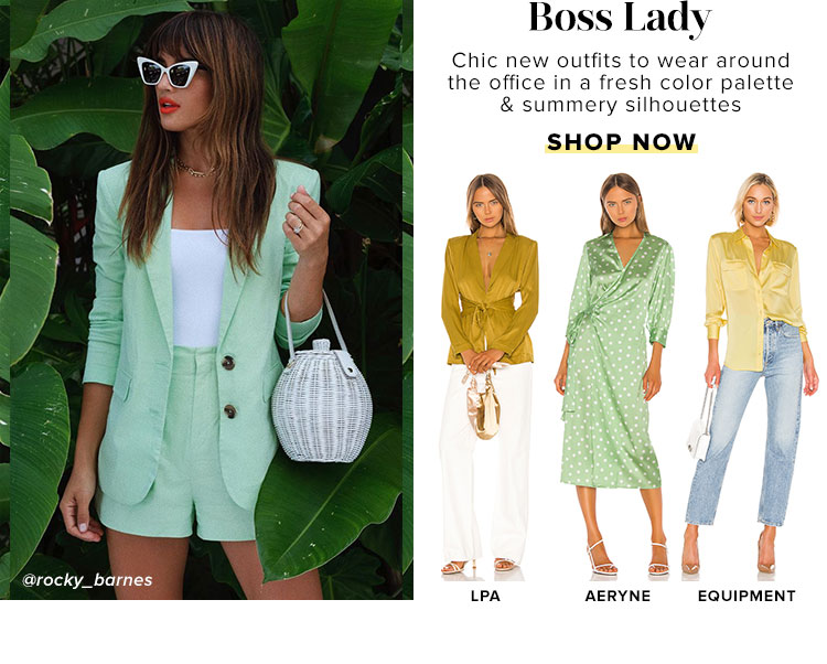 Boss Lady. Chic new outfits to wear around the office in a fresh color palette & summery silhouettes. Shop Now.