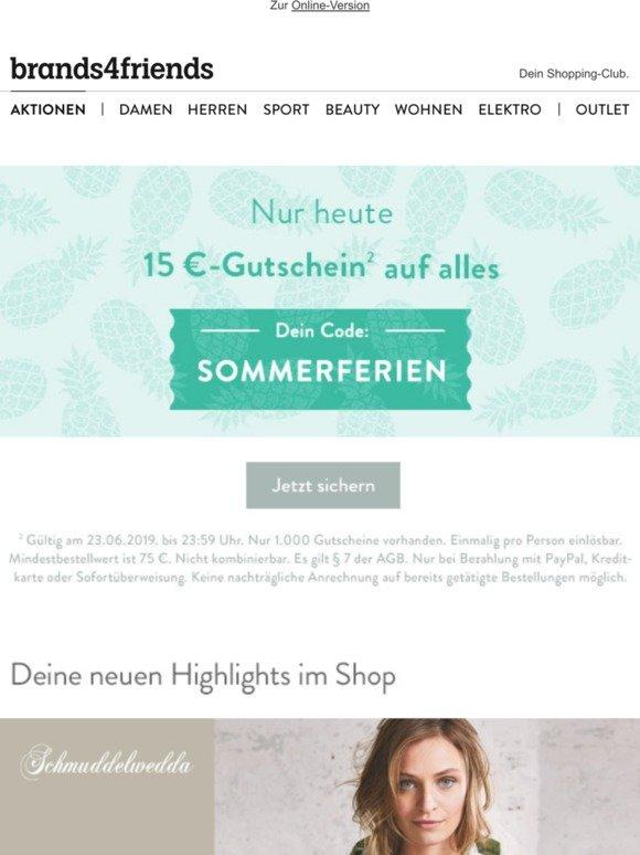 brands4friends DE: SOMMERFERIEN Dein 15€ Gutschein auf