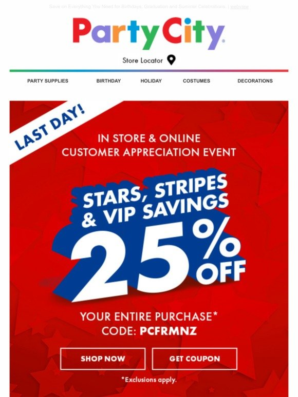 Party City: Customer Appreciation Days: Save 25% In Store