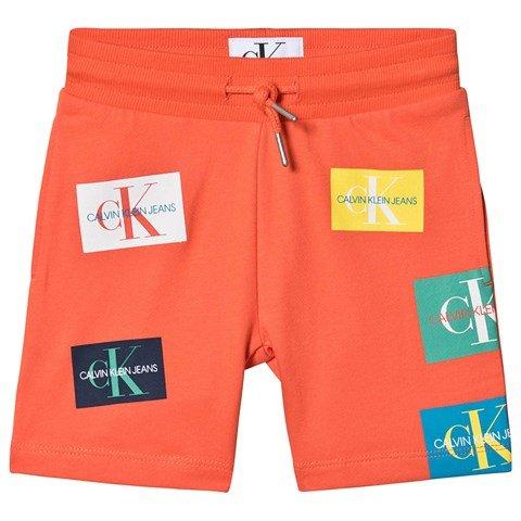 Calvin Klein Jeans Coral Monogram Patch Print Sweat Short