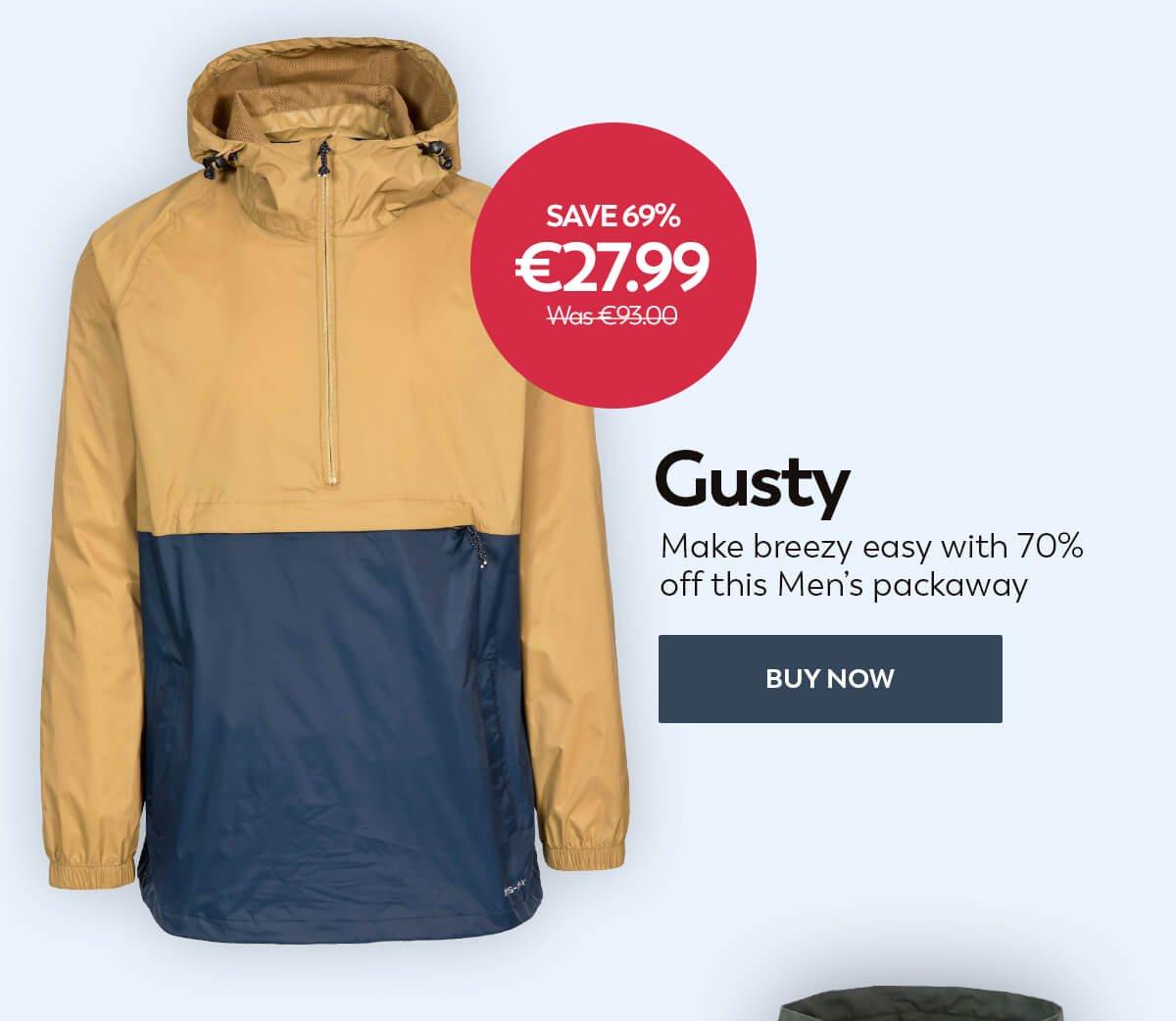 Trespass Gusty Mens Packaway Waterproof Jacket Rain Coat With Hood