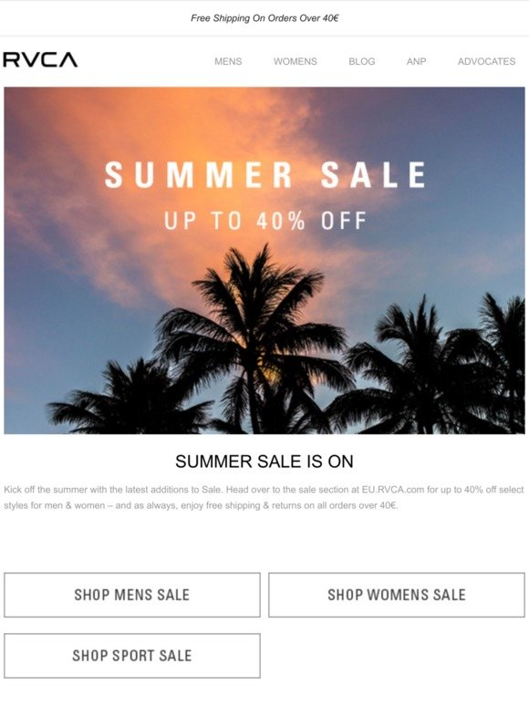 RVCA Europe: Summer Sale Starts Now | Milled