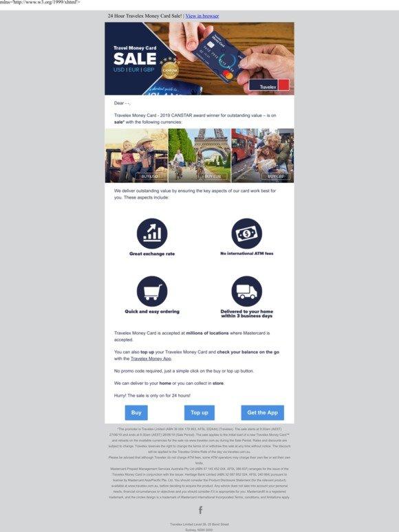 Travelex Currency: EOFY 24 hour Sale - Travelex Money Card