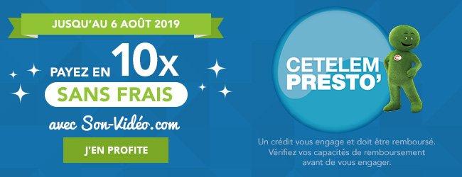 Jusqu'au 6août2019: payez en 10fois sans frais avec Son-Vidéo.com et CetelemPresto. Un crédit vous engage et doit être remboursé. Vérifiez vos capacités de remboursement avant de vous engager. J'en profite.