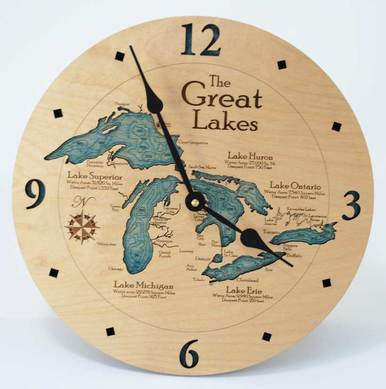 Great Lakes Wood Wall Clock available on WisconsinMade Artisan Collective