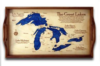 Wooden Serving Tray - Great Lakes available on WisconsinMade Artisan Collective