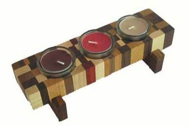 Tea Light Holder - Mosaic Wood Design available on WisconsinMade Artisan Collective