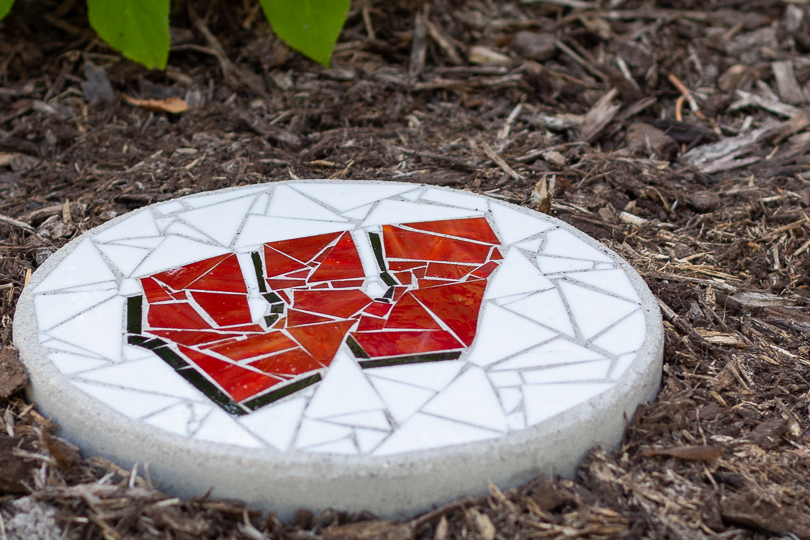 Motion W Stained Glass Stepping Stone by Soozii's QTZ is available exclusively on WisconsinMade Artisan Collective