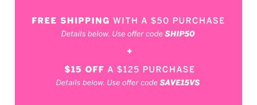Free shipping + $15 off