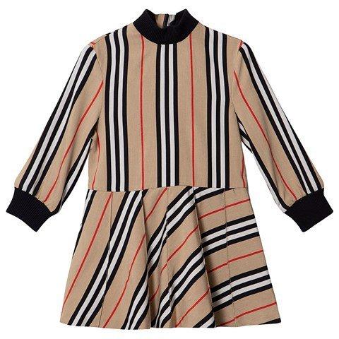 Burberry Beige Agatha Heritage Stripes Long Sleeve Dress