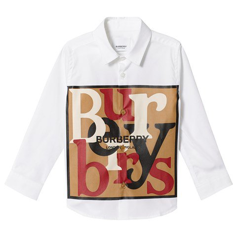 Burberry White Scarf Print Shirt