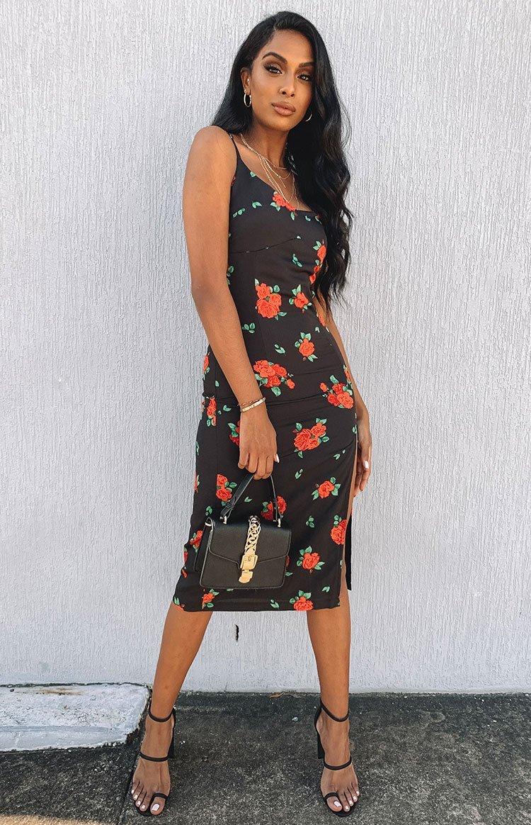 Varadero Midi Slip Dress Black Red Rose