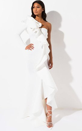 130926e9e13 The Night Wont Stop Ruffle Maxi Dress provides a luxurious look with its  neoprene inspired base