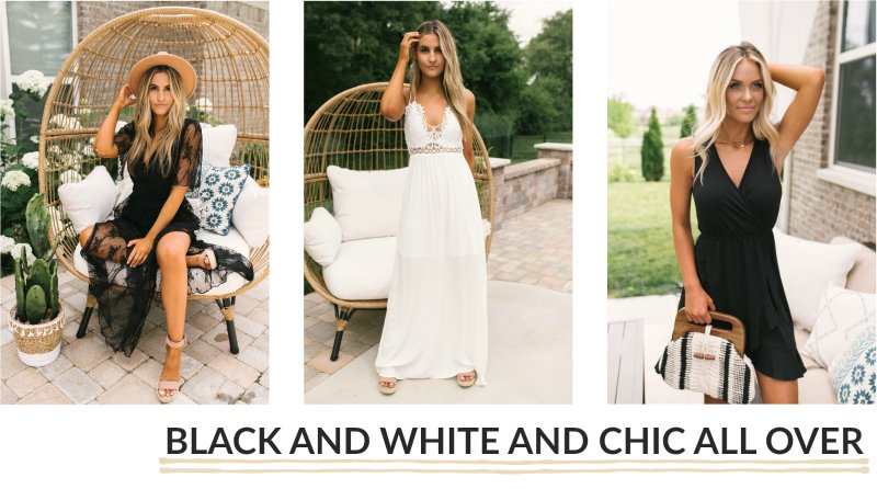 solid black and white dresses
