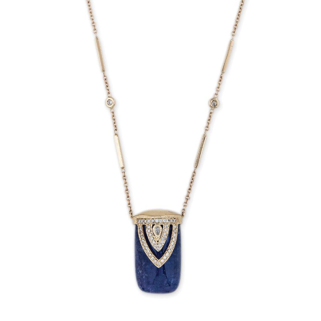 Image of TANZANITE ALADDIN CAP DIAMOND BAR CHAIN NECKLACE