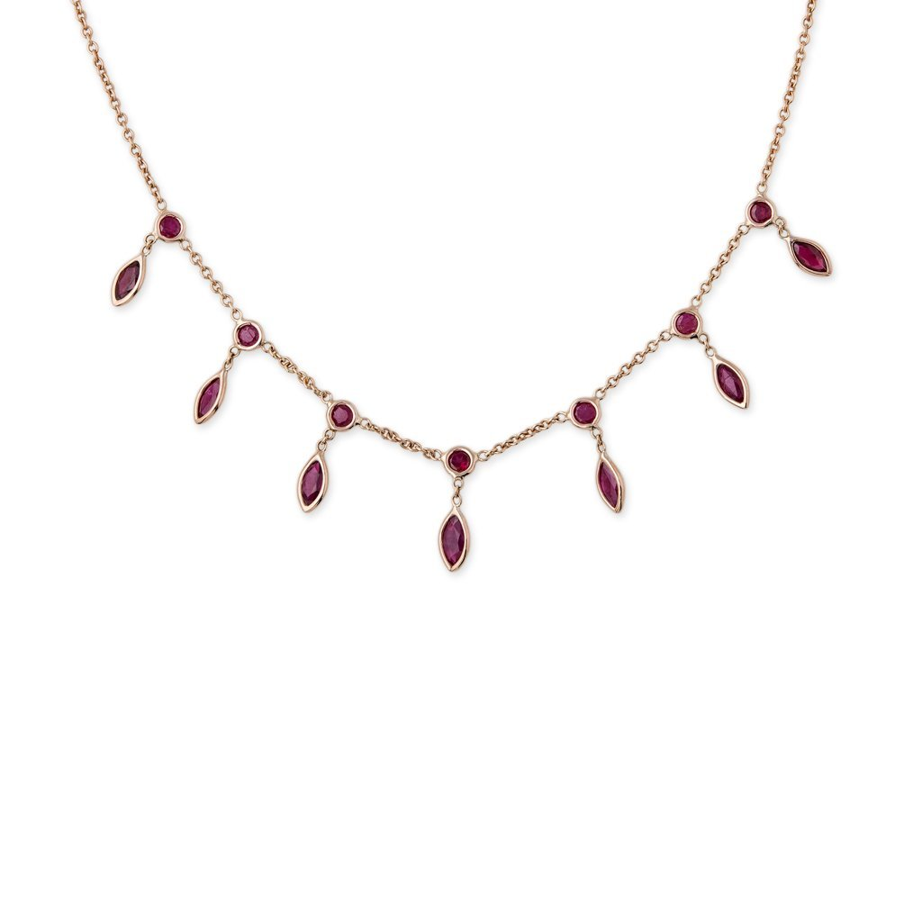 Image of RUBY MARQUISE SHAKER NECKLACE
