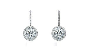 2.92 Carat Round Cut Halo Drop Diamond Earrings in 14K White Gold