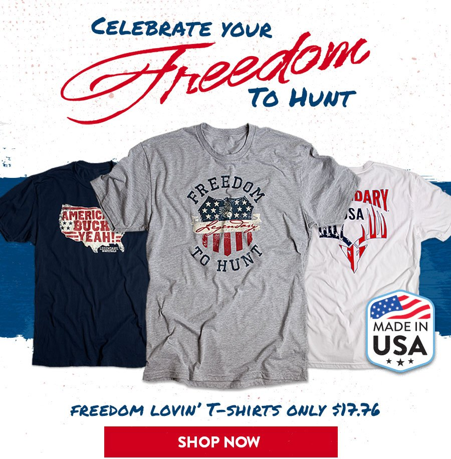 Celebrate Your Freedom To Hunt - Made in USA Tees Only $17.76
