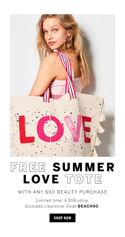Free Summer Love Tote with any $60 Beauty Purchase