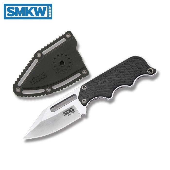 "SOG INSTINCT WITH G-10 HANDLE AND SATIN POLISHED 5CR15MOV STAINLESS STEEL 2.439"" CLIP POINT PLAIN EDGE BLADE MODEL NB1012-CP"