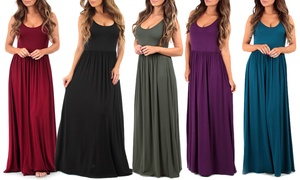 Women's Ruched Maxi Dress in Regular and Plus Sizes