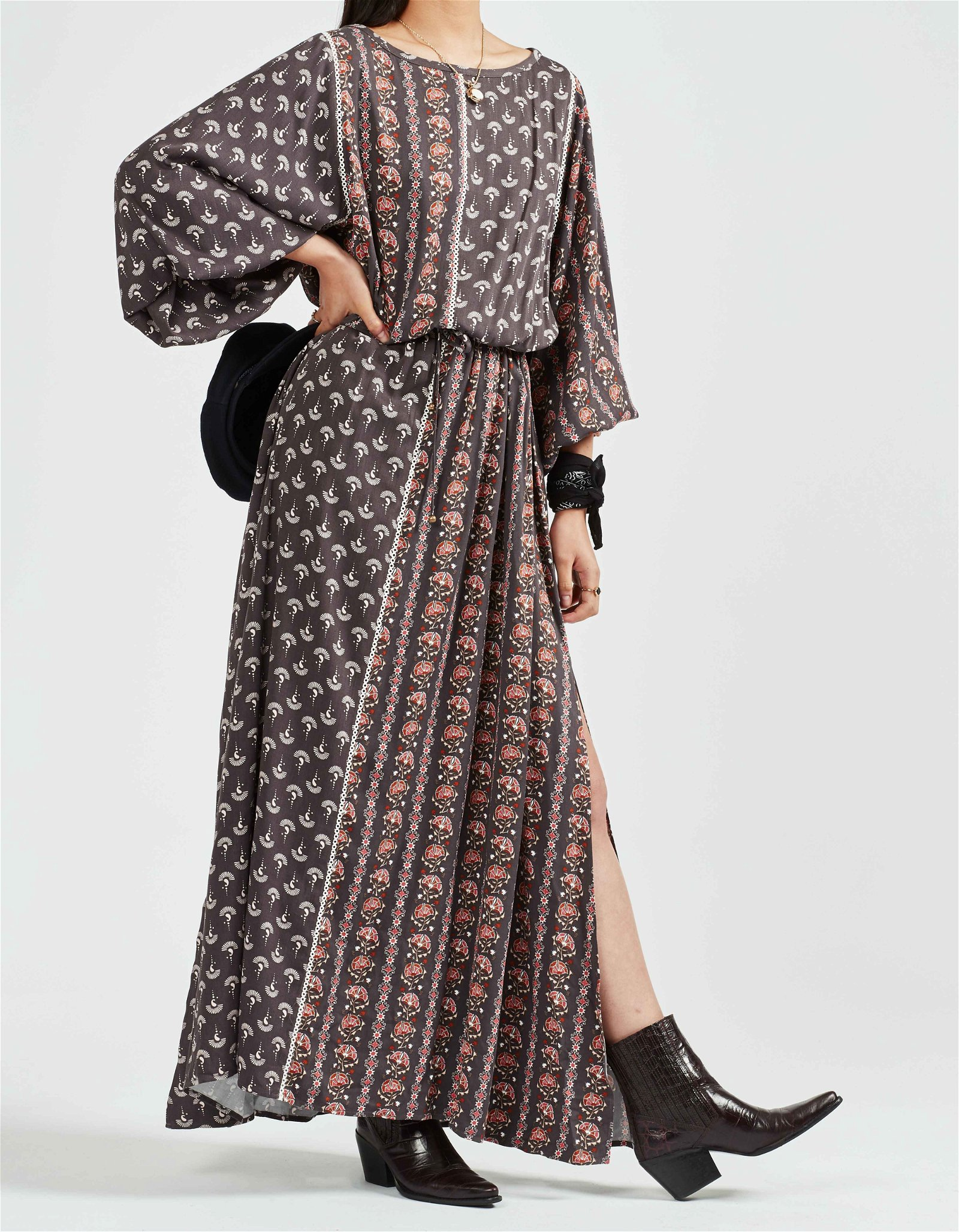 MARIPA LONGSLEEVE MAXI DRESS - CHARCOAL