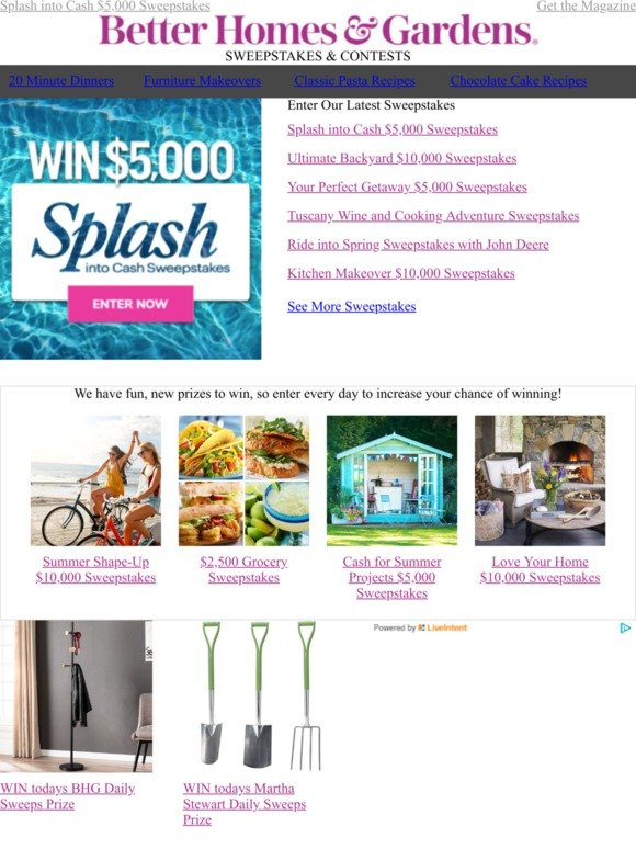 Better Homes and Gardens: WIN $5,000 CASH for the summer! | Milled