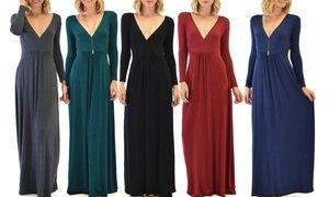 Lyss Loo Women's Sweetest Kiss Long Sleeve V-Neck Maxi Dress