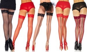 Leg Avenue Stay-Up Lace-Top Fishnet Thigh-Highs with Back Seam