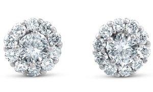 1 CTTW Diamond Halo Stud Earrings in 14K White Gold by Pompeii3