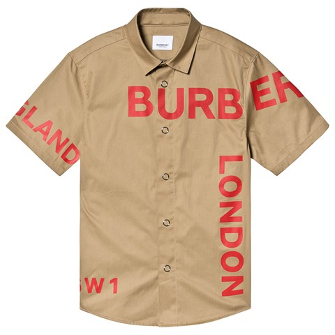 Burberry Beige Dean Burberry Logo Short Sleeve Shirt