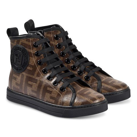 Fendi Brown FF Logo Hi-Top Trainers