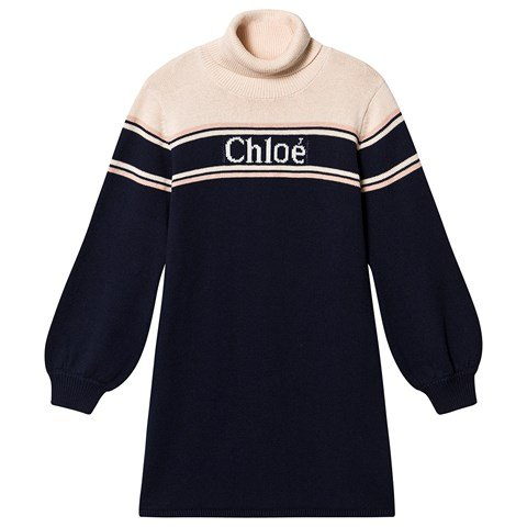 Chloé Navy Roll Neck Dress with Chloé Logo